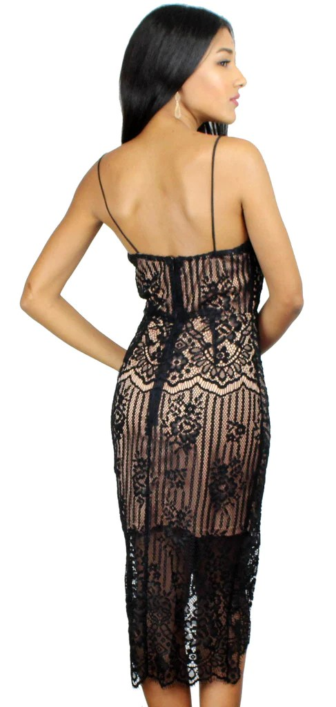 Absolutely Astounding Black Lace Midi Dress Zil Boutique