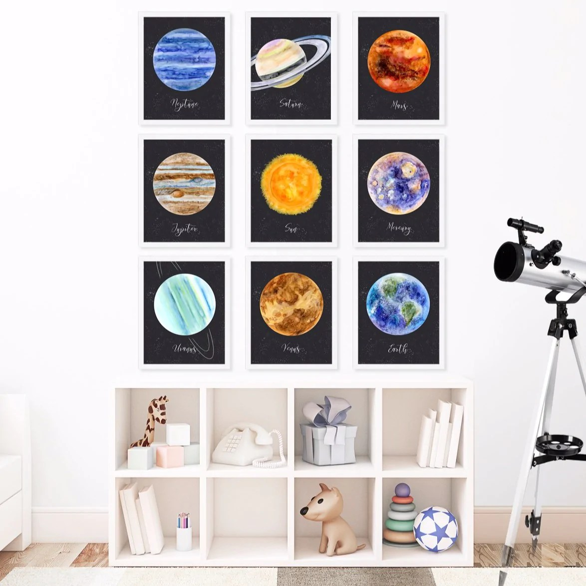 Planets Wall Art Planet Neptune Watercolor Print