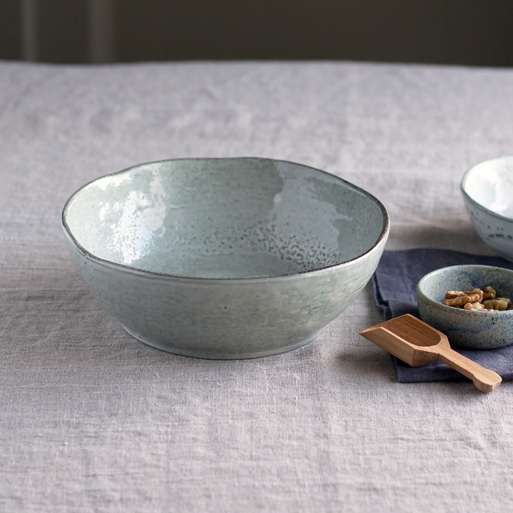 House Doctor Rustic Rustic Ceramic Bowl With Speckled Grey Glaze