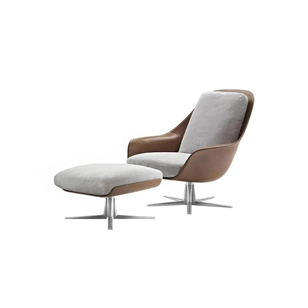 Chair Eames Eames Style Lounge Chair And Ottoman, Cotton Linen