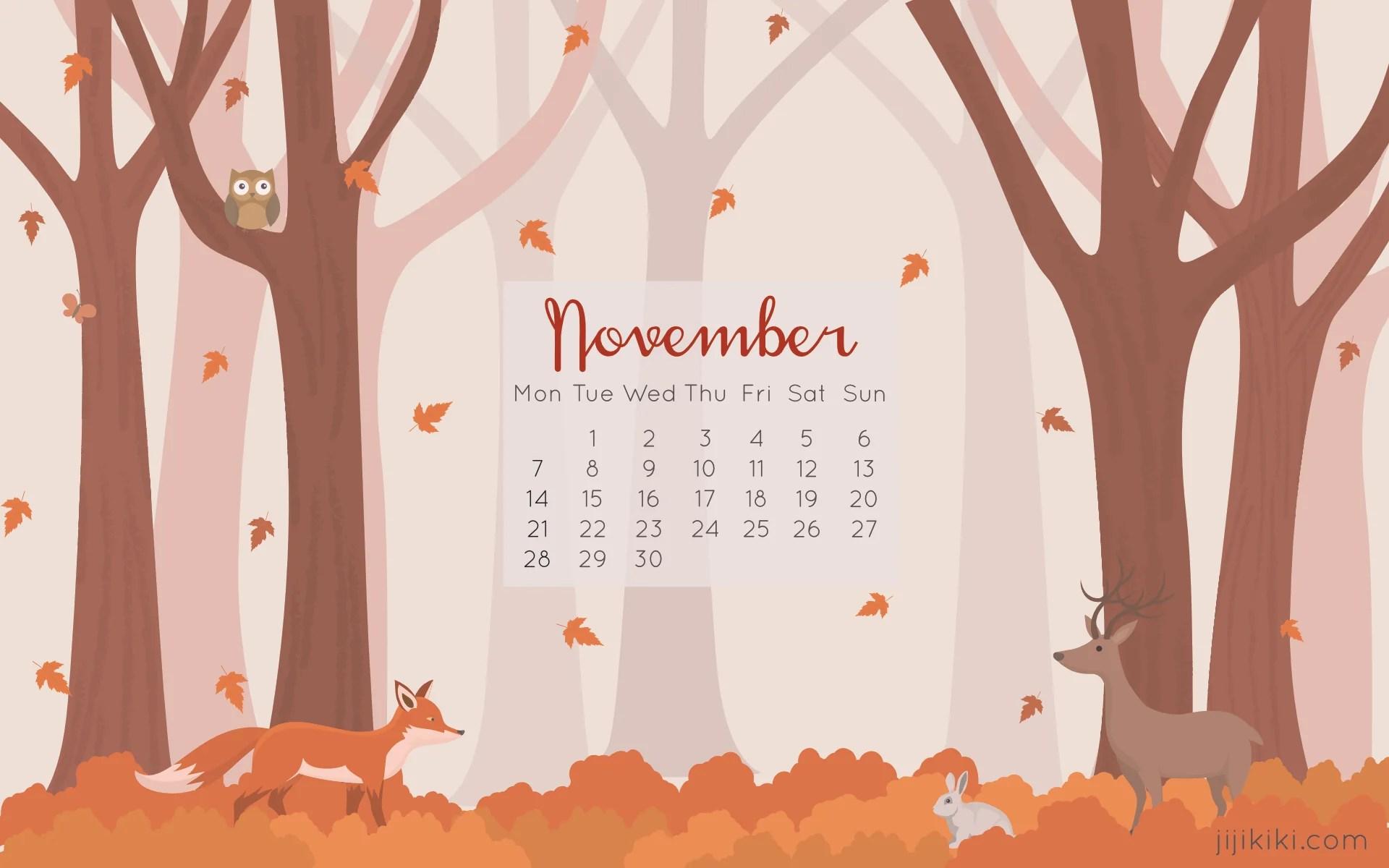 Cute November Calendar Wallpaper November 2016 Desktop Calendars Ji Ji Kiki