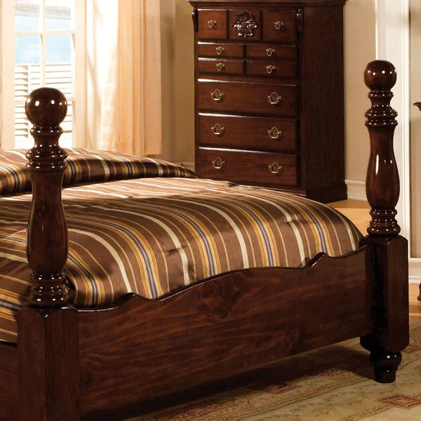 Tuscan Colonial Style Dark Pine 6 Piece Bedroom Set 24 7