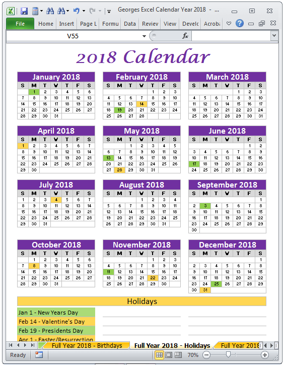 How To Create A Calendar From Dates In Excel How To Create A Calendar In Microsoft Excel With Pictures 2018 Calendar Year In Excel Spreadsheet Printable