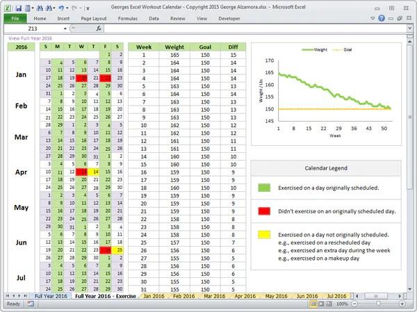workout calendar tracker