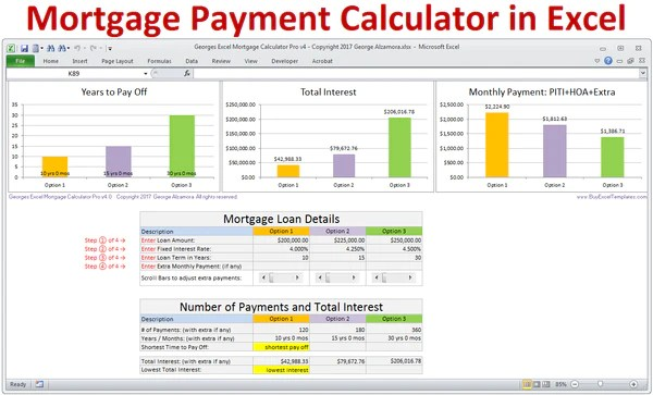 Mortgage Calculator with Taxes Insurance PMI HOA & Extra Payments – BuyExcelTemplates.com