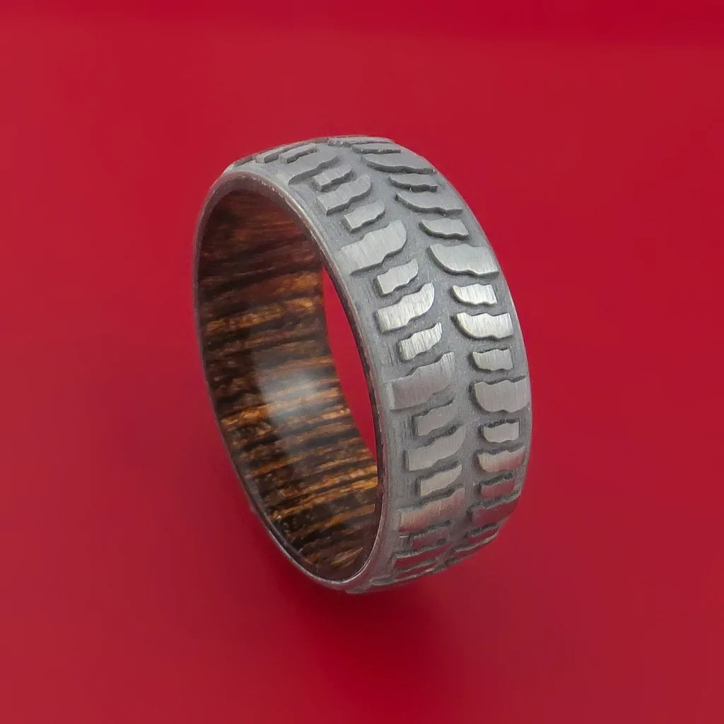 tire tread wedding rings titanium mud tread tire ring with heritage brown hard wood sleeve download - Mud Tire Wedding Rings