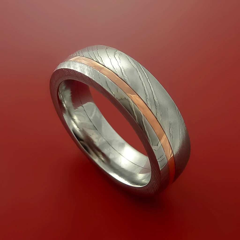 damascus steel and copper ring wedding band custom made 1 damascus wedding band Damascus Steel and Copper Ring Wedding Band Custom Made by Stonebrook Jewelry