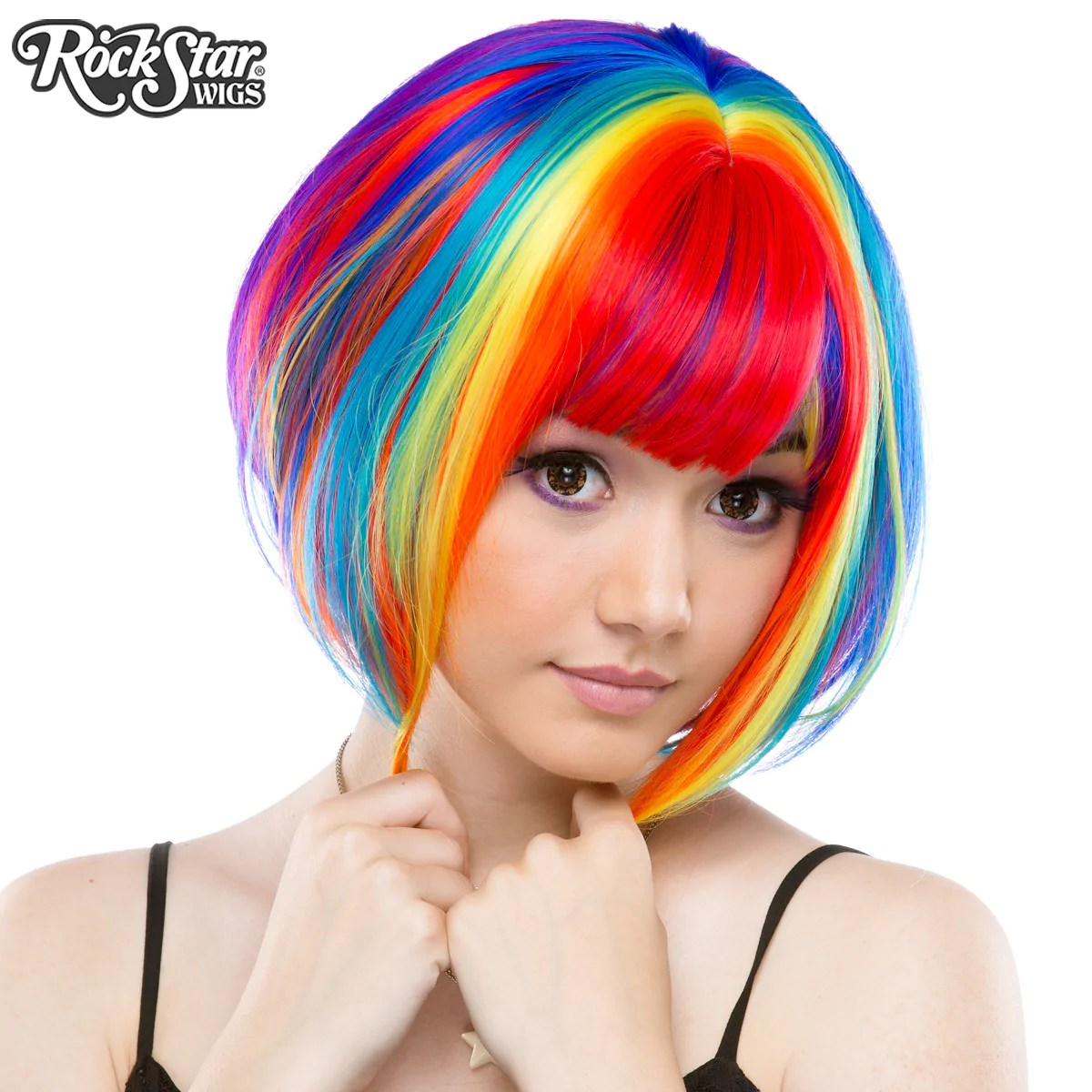 Orange Wig Bob Rockstar Wigs® Rainbow Rock™ Collection Rainbow Bob ロリータ