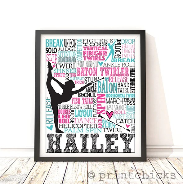 Colors For Boys Bedroom Baton Twirling Poster - Personalized Baton Print - Sport