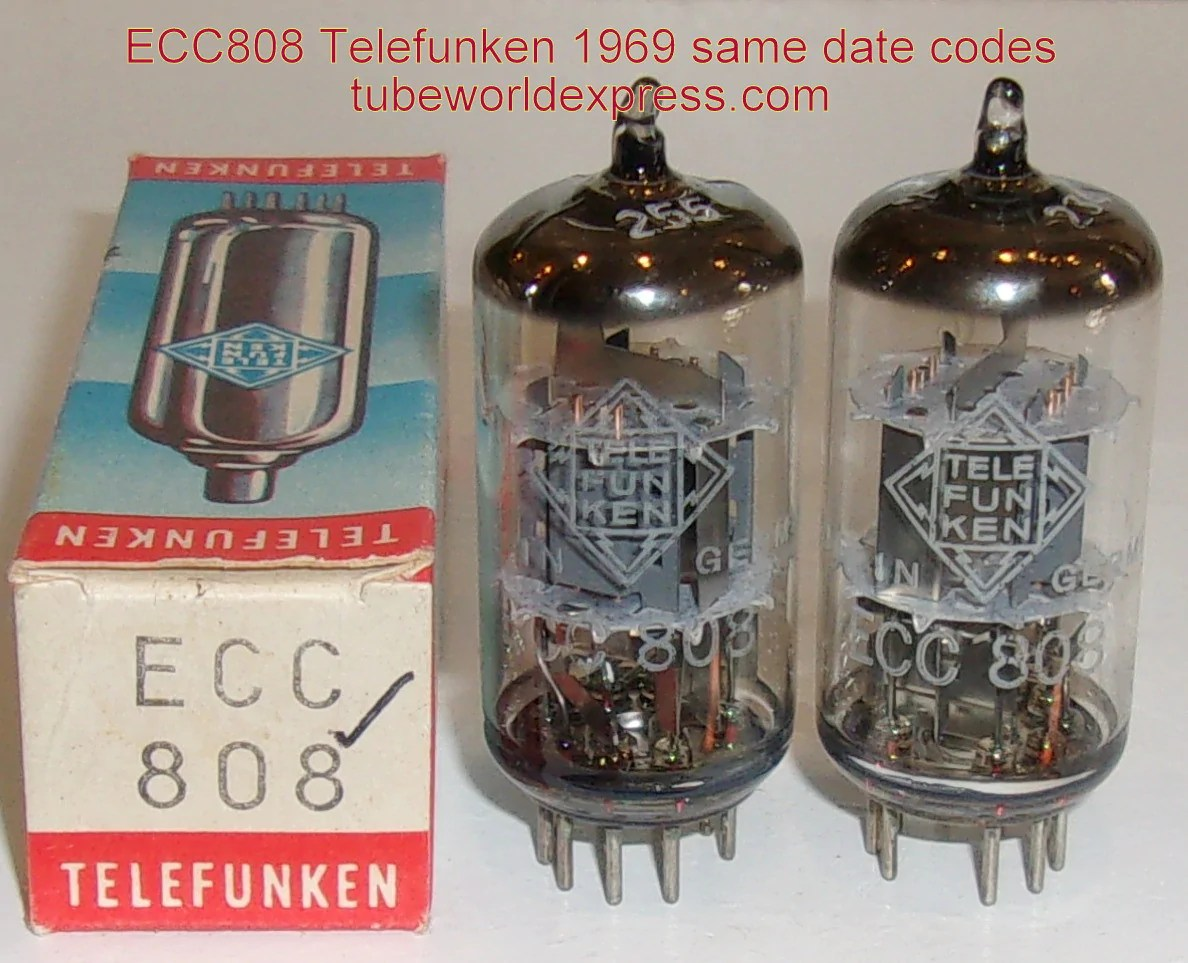 Telefunken Test Recommended Pair Ecc808 6kx8 Telefunken Diamond Bottom Used Test Like New 1969 Same Date Codes 1 Matched Matched On Amplitrex