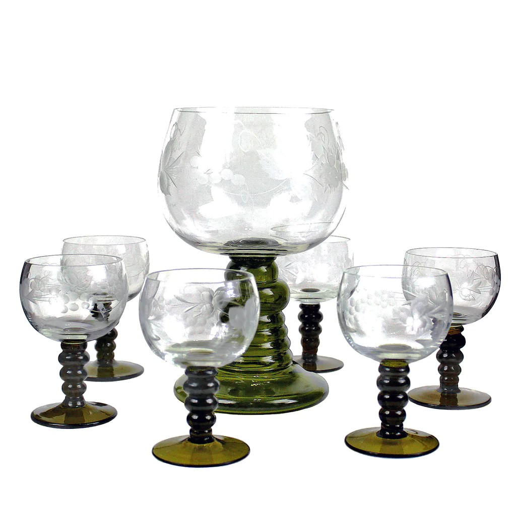 Small Stem Wine Glasses Römer Wine Glass Set Hand Etched Austrian Crystal Green