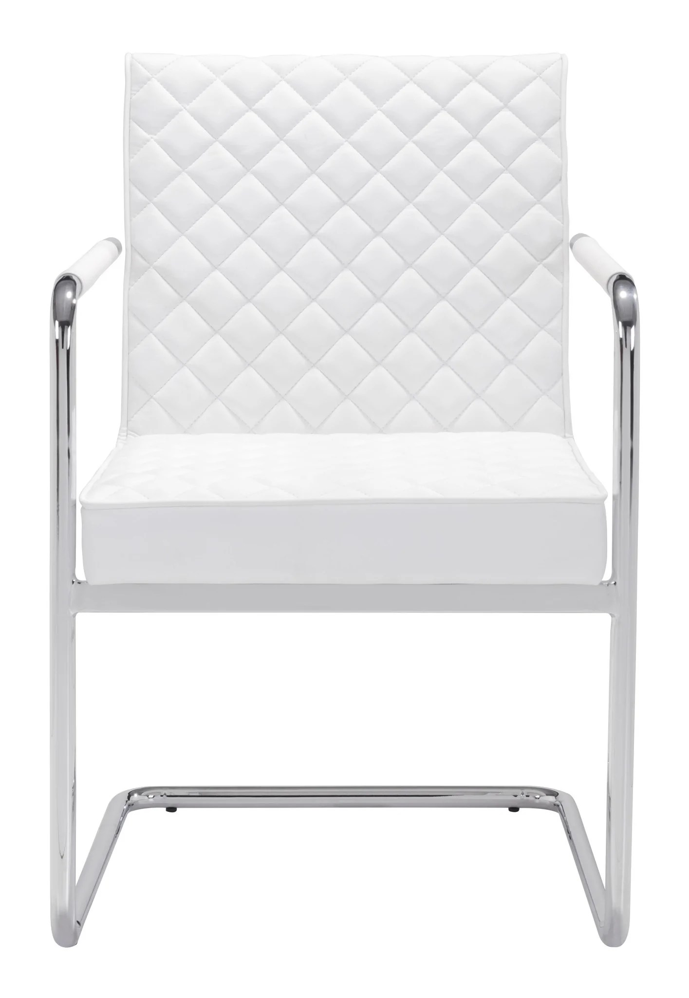 White Leather Chairs With Checkered Pattern By Zuo Officedesk Com