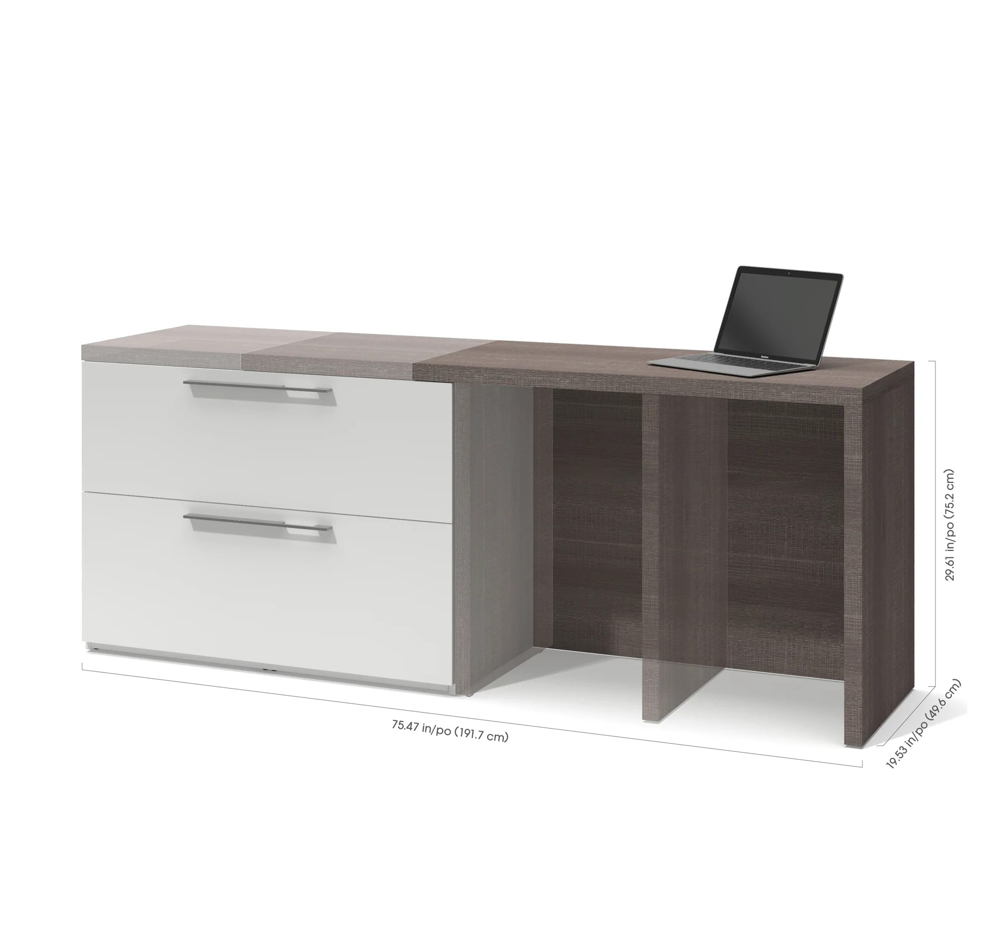 Desk With File Cabinet Dual Extending Desk File Cabinet Combination In White Bark Gray Finish