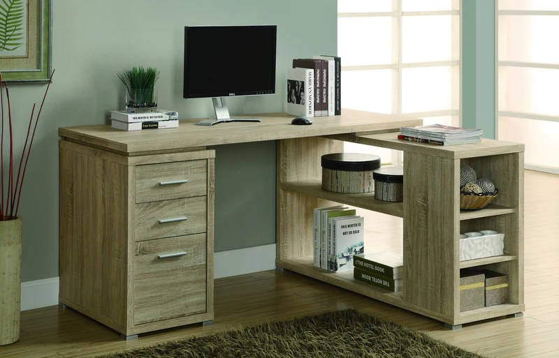 Corner L Shaped Office Desk With Drawers Shelving In