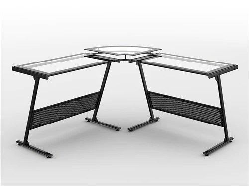 L Shaped Glass Desk With Raised Glass Monitor Stand
