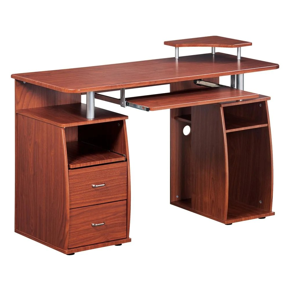 Mahogany Office Desk Compact Workstation With Storage In Mahogany
