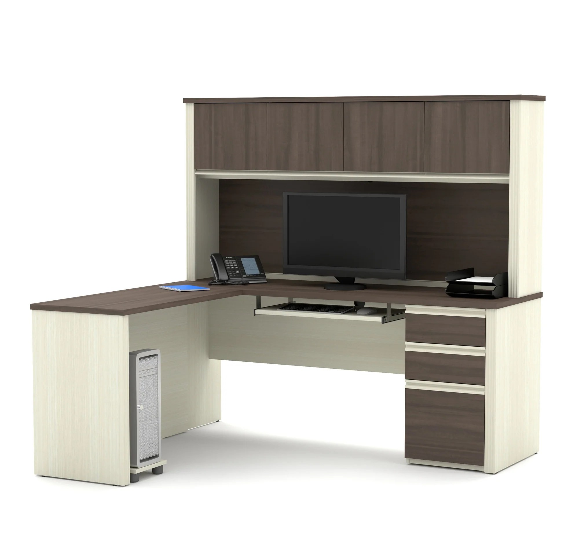 White Office Desk L Shaped Desk With Hutch In Modern White Chocolate Antigua