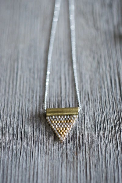 Triangle Island Kitchen Brass Bail Beaded Triangle Pendant – Bowl & Pitcher