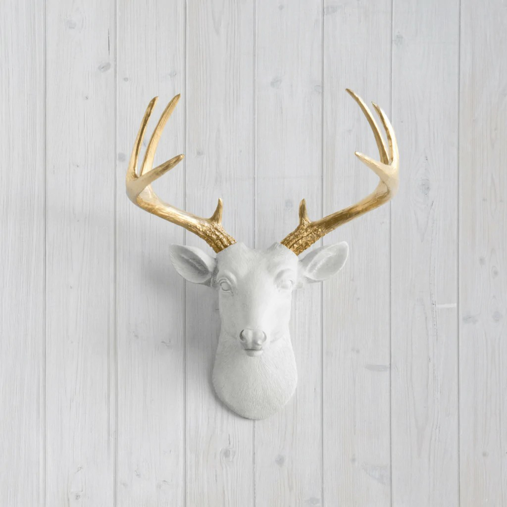 White Porcelain Deer Head Mini Resin Deer Head Wall Mount With Custom Antlers Shop