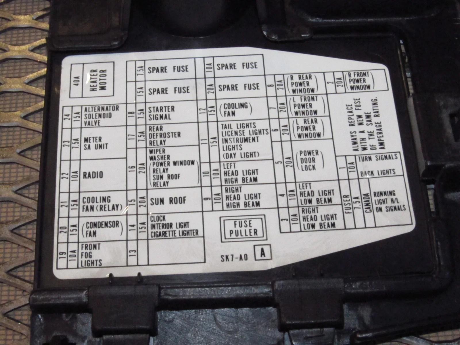 90 93 acura integra fuse box diagram
