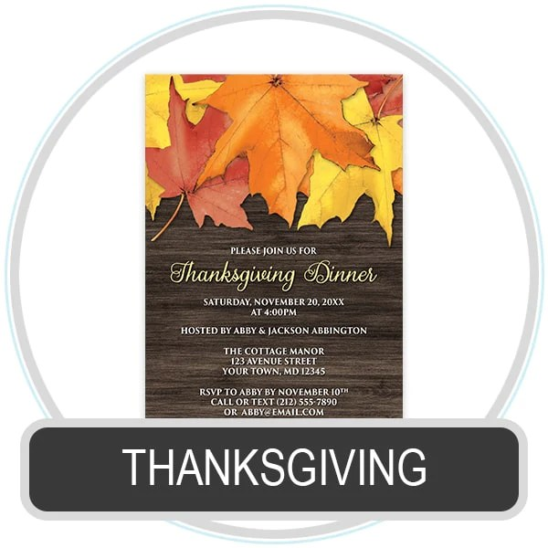 Shop for Thanksgiving Invitations at Artistically Invited