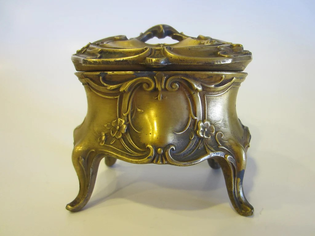 Art Deco Style Jewelry Boxes Art Deco Jewelry Box Highly Decorated Scrolled Footed Floral Medallion