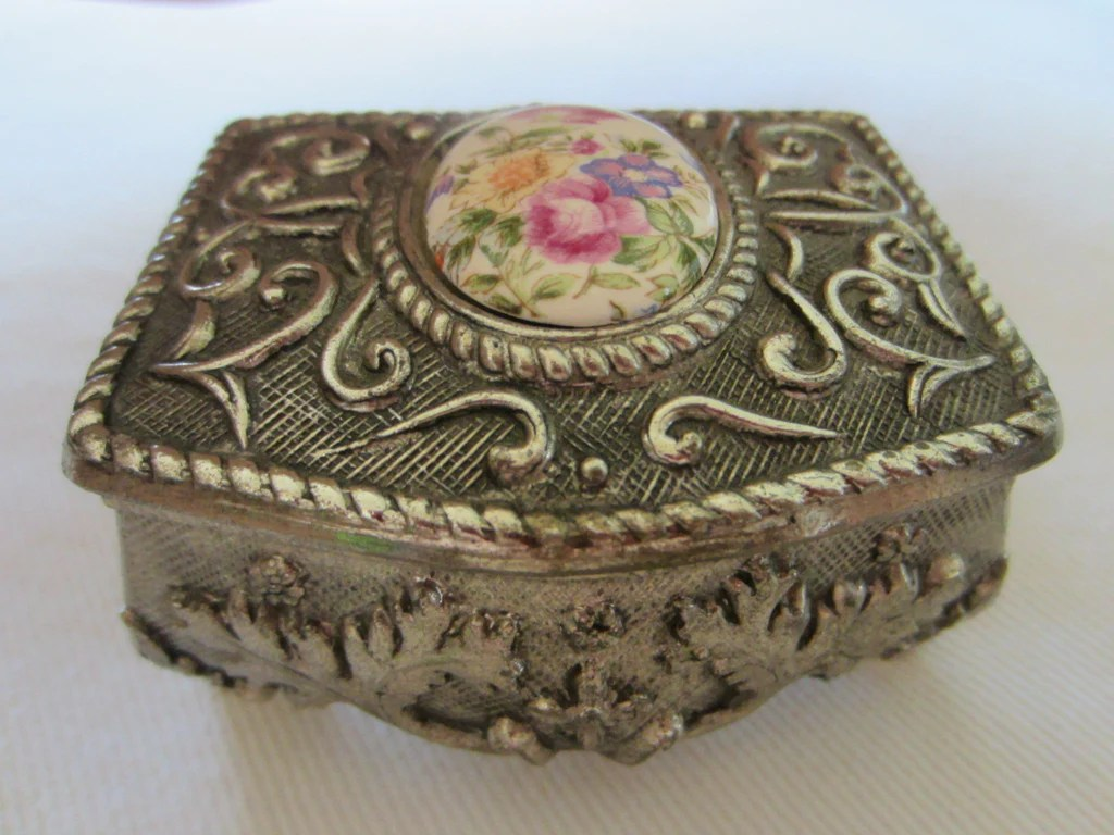 Art Deco Style Jewelry Boxes Miniature Pewter Japan Jewelry Box Porcelain Floral Medallion