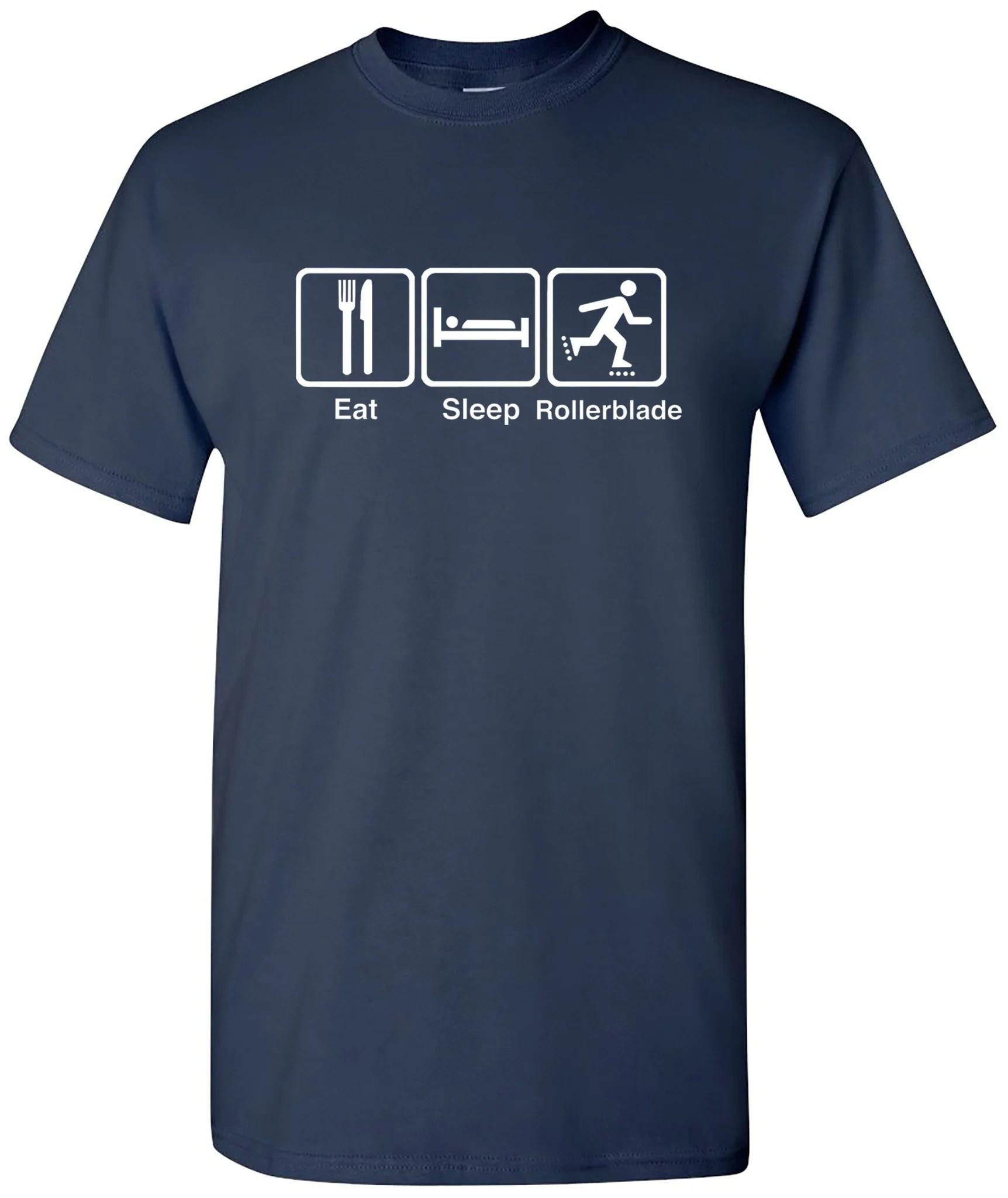 Eat sleep rollerblade t shirt with skating rollerblading tee