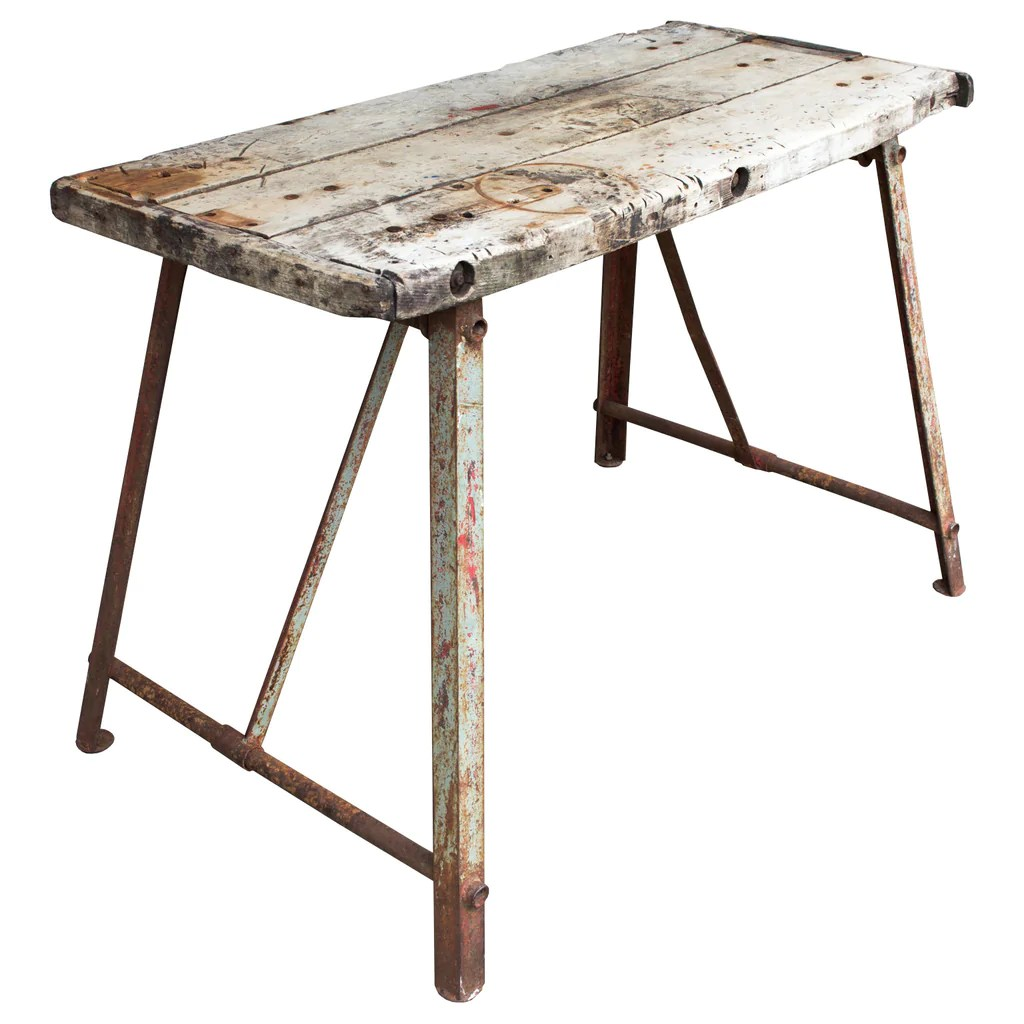 Table Metal Blanc Antique Distressed Wood Metal French Work Table Laurier Blanc