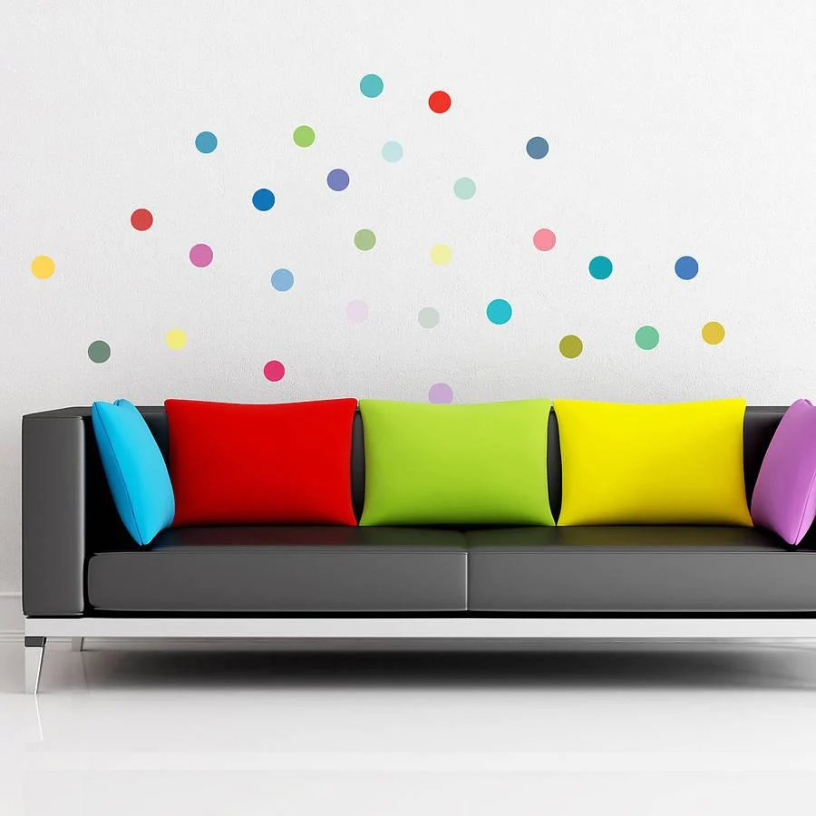 Wedding Anniversary Wallpaper With Quotes Multicoloured Polka Dot Wall Sticker Set Wall Stickers