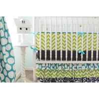 Chevron Damask Baby Bedding | Lime, Navy Crib Bedding Set ...