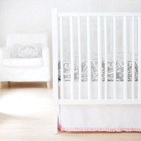 Gray & Pink Damask Wisteria Baby Bedding Set