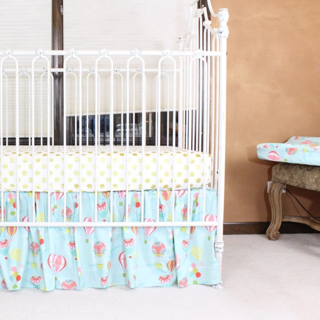 Full Crib Bedding Sets Hot Air Balloon Baby Bedding Aqua Coral Crib Bedding Set