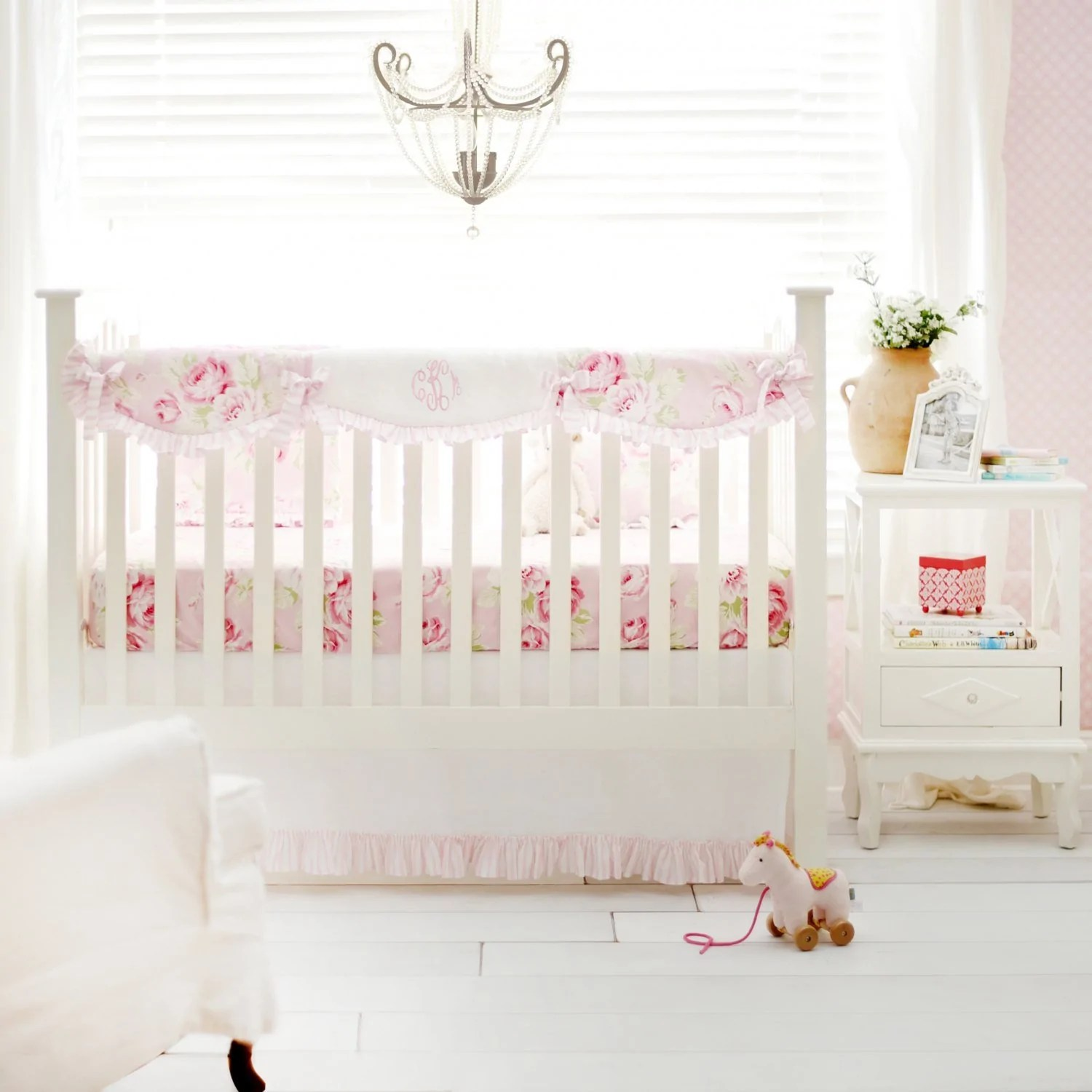 Full Crib Bedding Sets Pink Floral Desert Rose Crib Bedding Set Jack And Jill Boutique