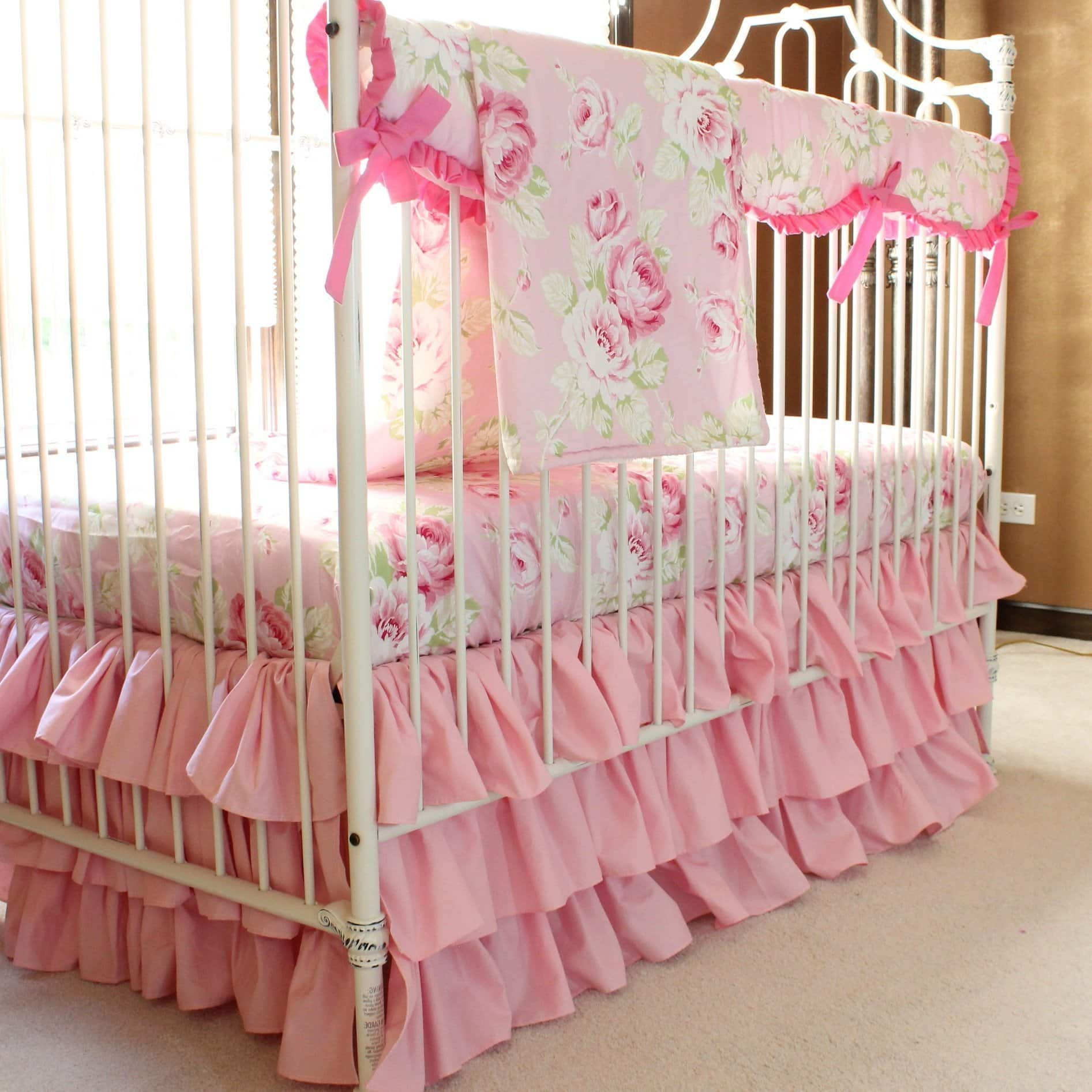 Shabby Chic Vintage Nursery Vintage Shabby Chic Roses Floral Pink Baby Bedding Set Jack And