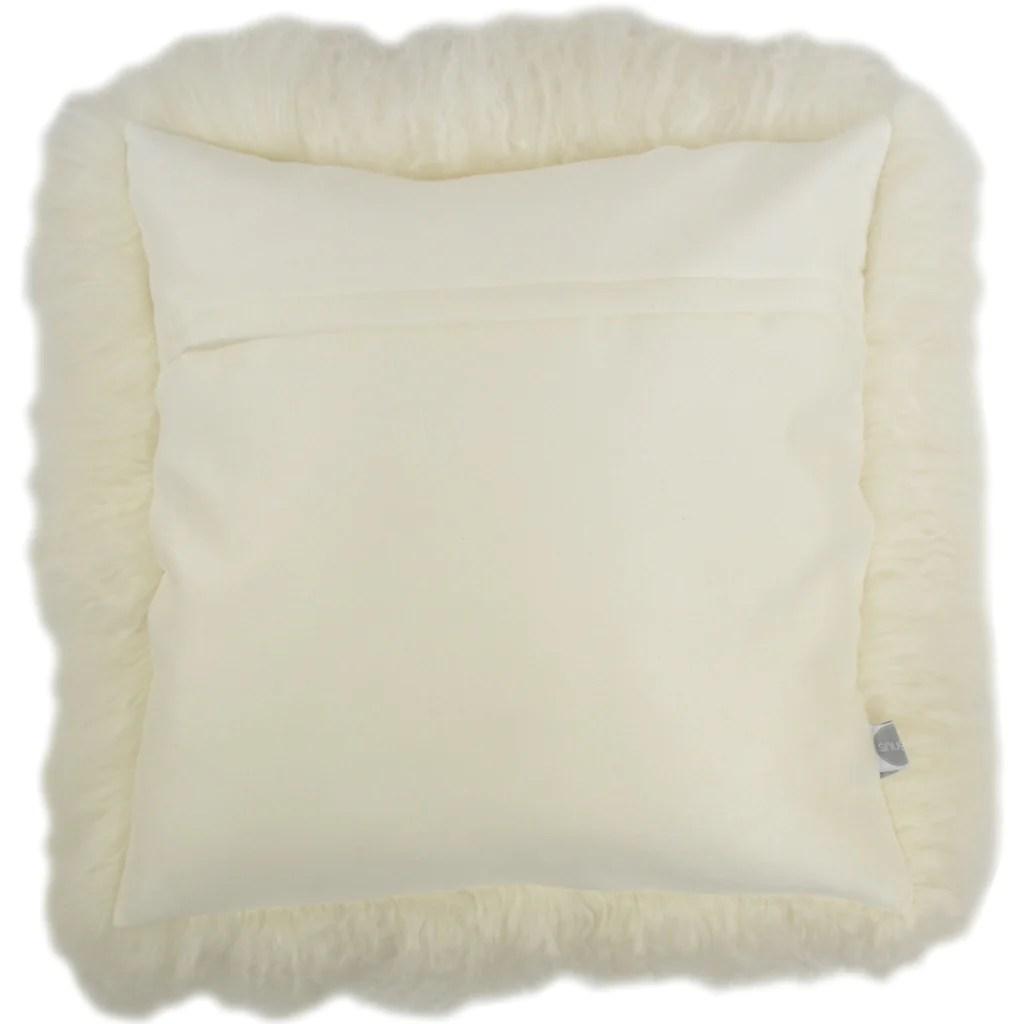 Mongolian Sheepskin Cushion 40cm X 40cm Ivory Snugrugs