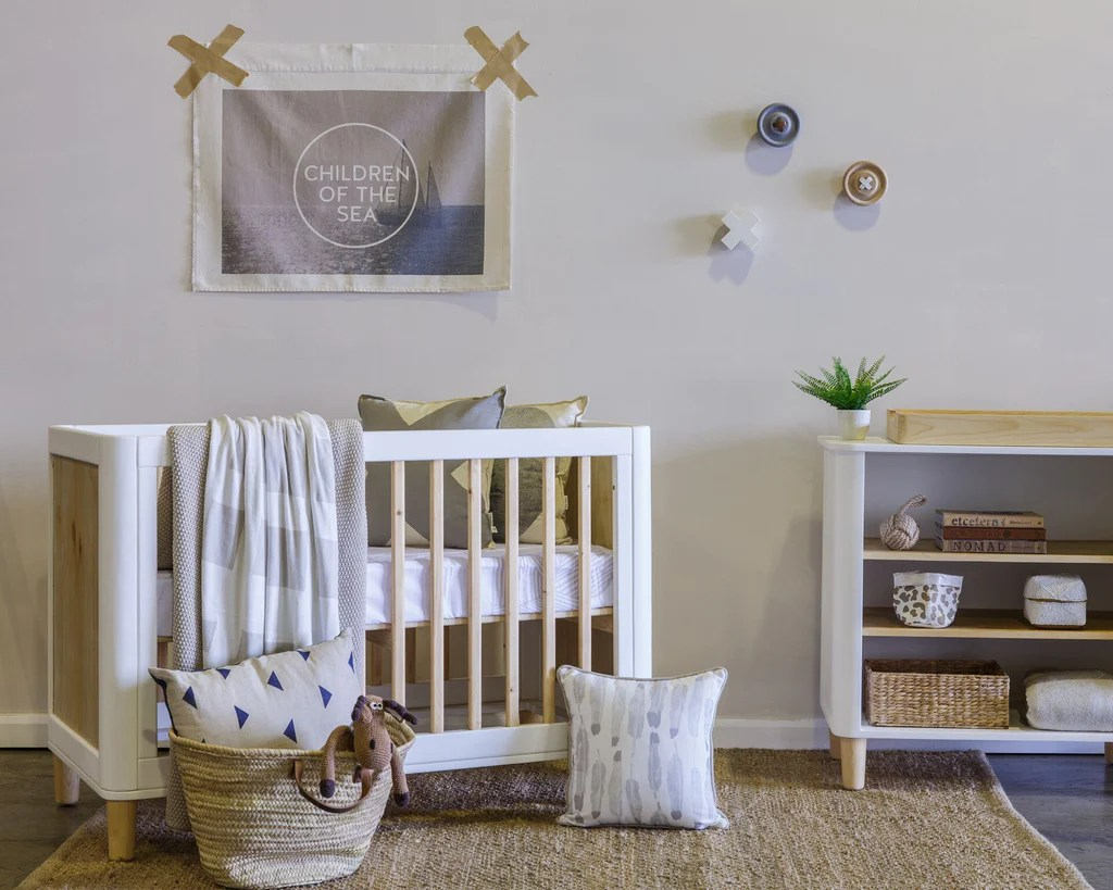 Natural Timber Cot Incy Teeny Cot Crisp White