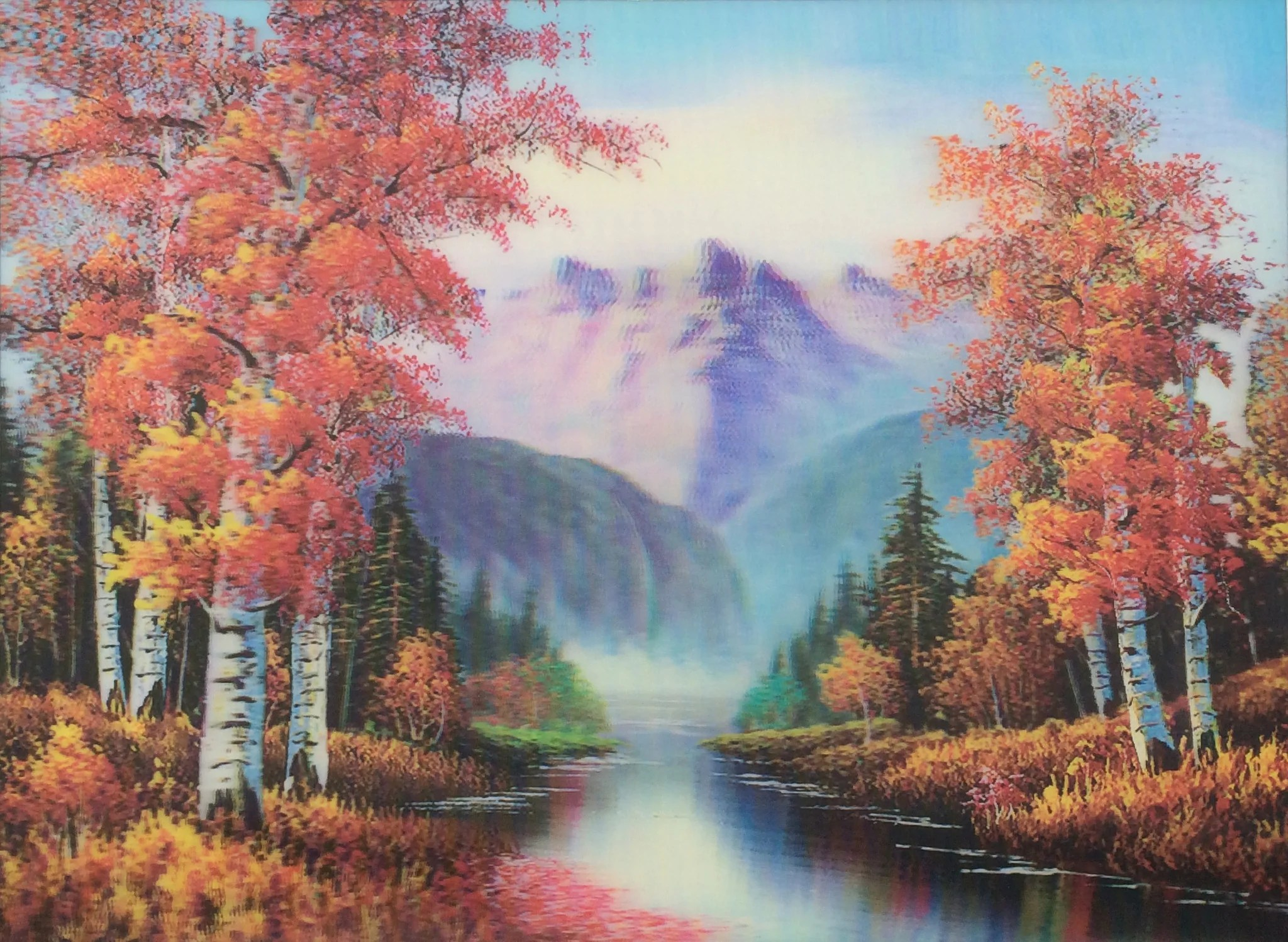 Thomas Kinkade Fall Wallpaper Tree Path 3d Flip Picture Matted Or Framed Very Colorful