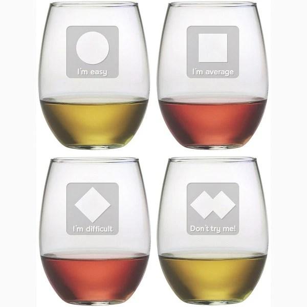 stemless wine glasses monogrammed