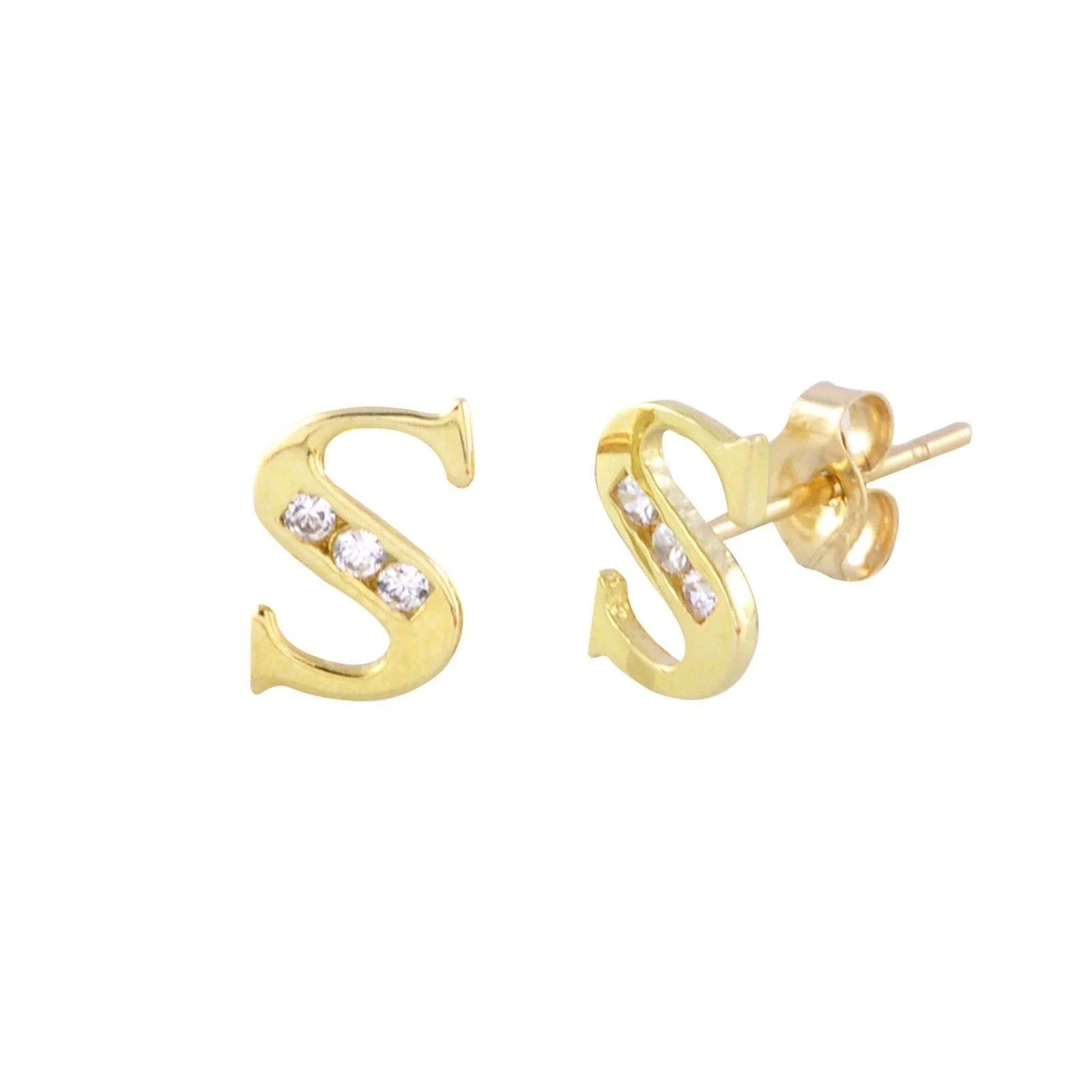 Gold S 10k Initial Earrings Jewelryland
