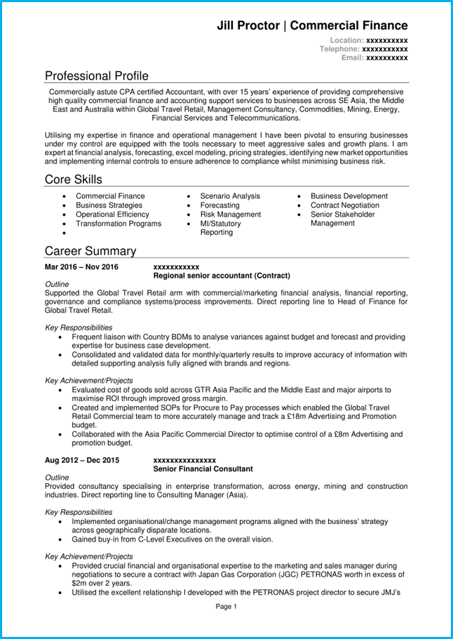 example of cv in english for accounting