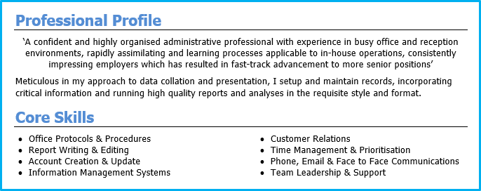 cv profile examples