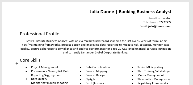 best resume font in word