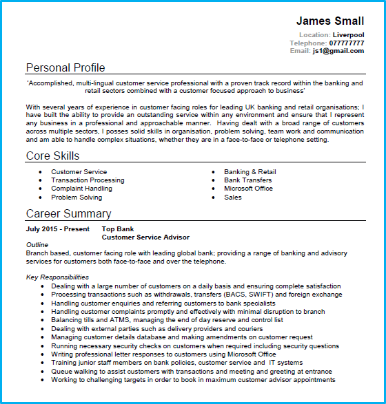 bank call centre resume sample