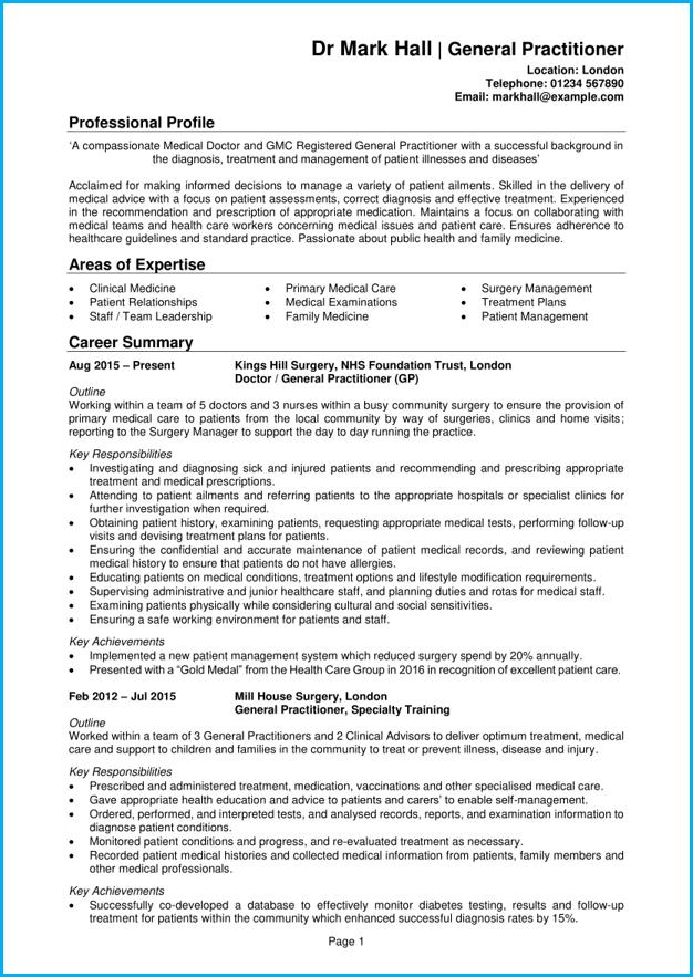 medical cv template uk