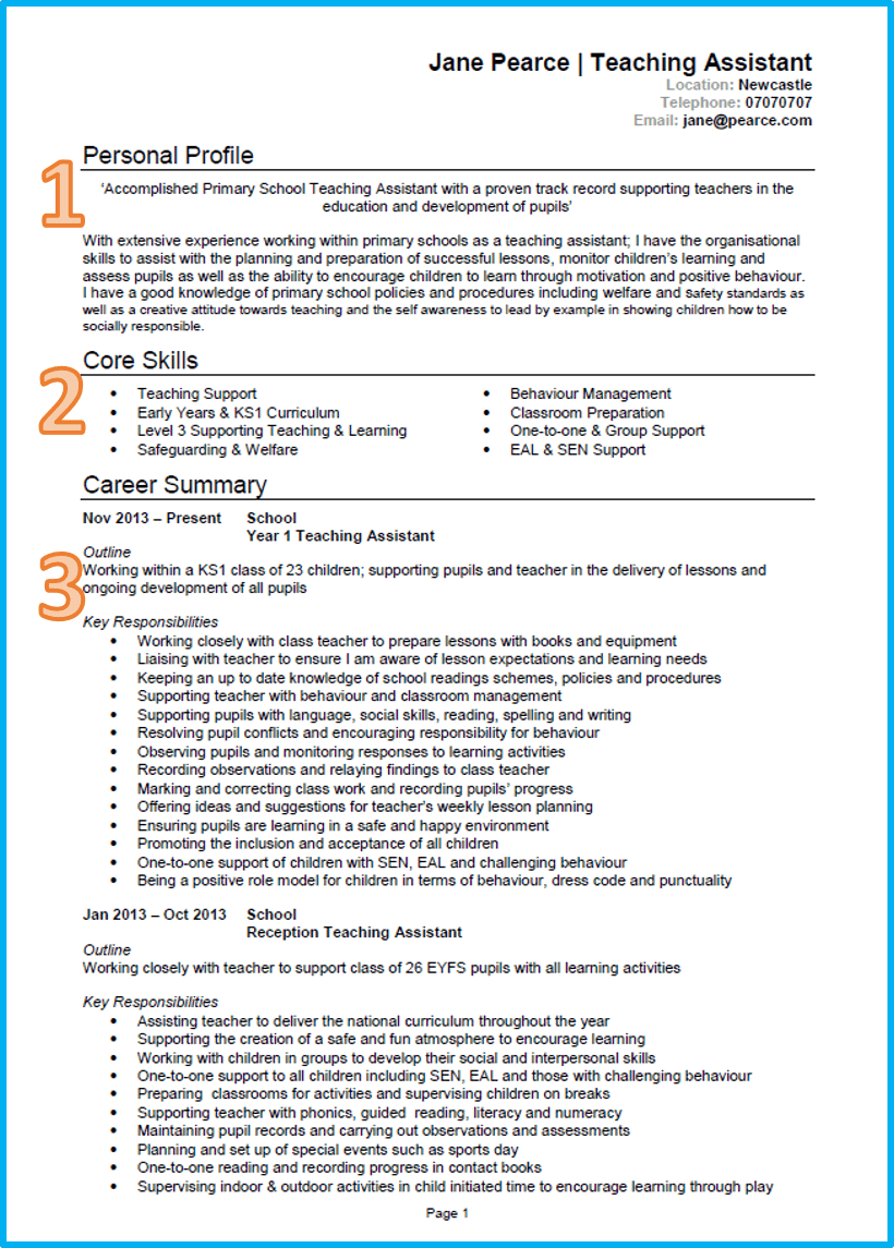 successful cv template