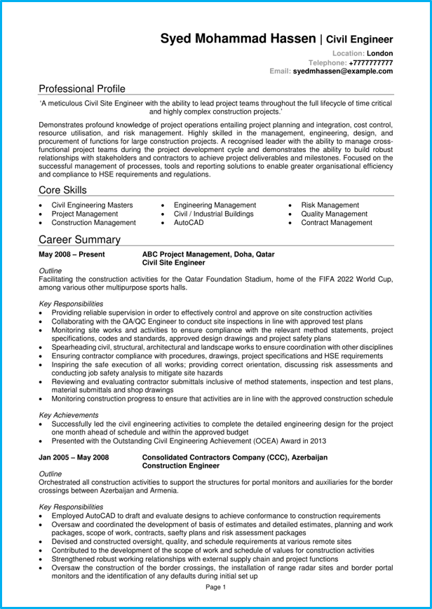 english cv engineer quality