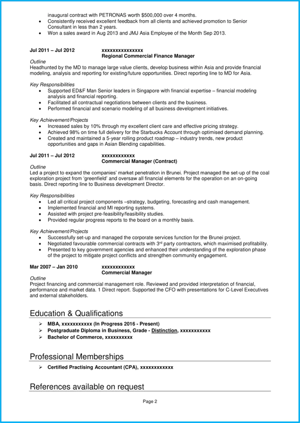cv english template for finance