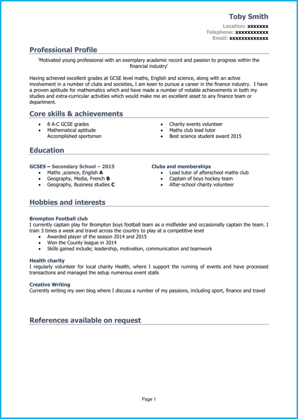 example of cv for young person