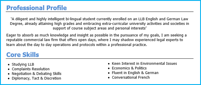 graduate cv example personal profile